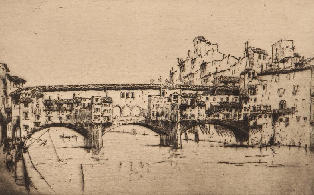 Milan Petrovic etching  Ponte Vecchio, Florence