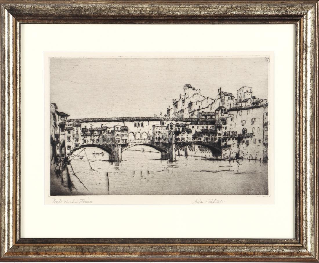 Milan Petrovic etching  Ponte Vecchio, Florence - 2