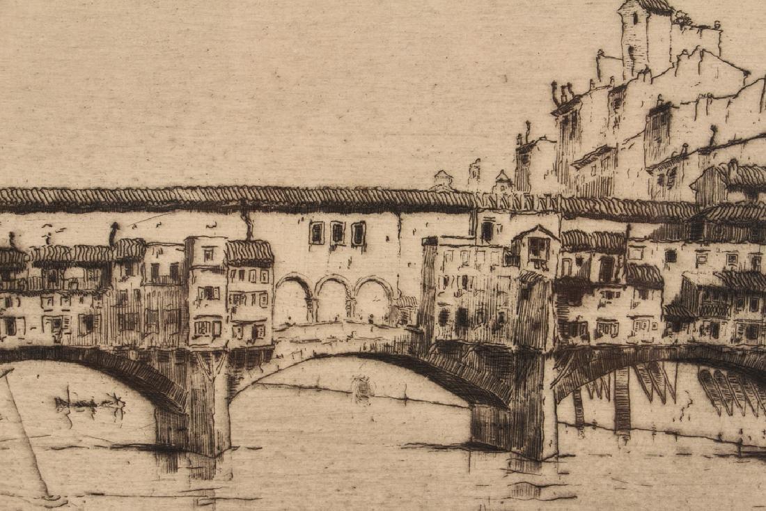 Milan Petrovic etching  Ponte Vecchio, Florence - 5