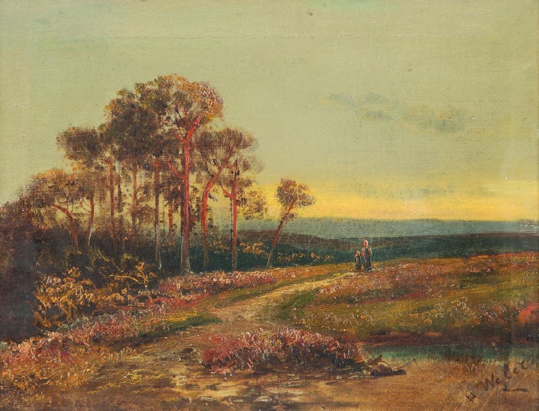 H Weber oil Victorian Landscape at Twilight