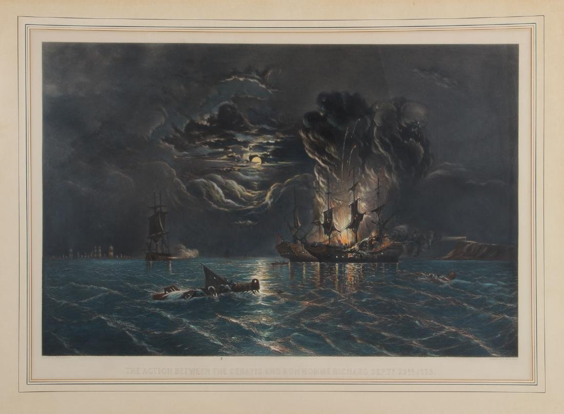 Sea Battle Colored Engraving by Whitechurch after