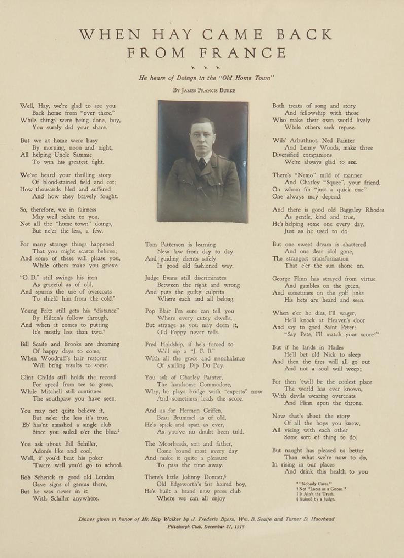 Sewickley World War One Historical Poem