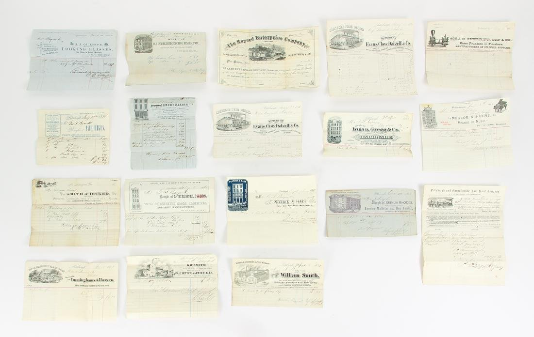 Eighteen Pittsburgh Related 19th Century Invoices