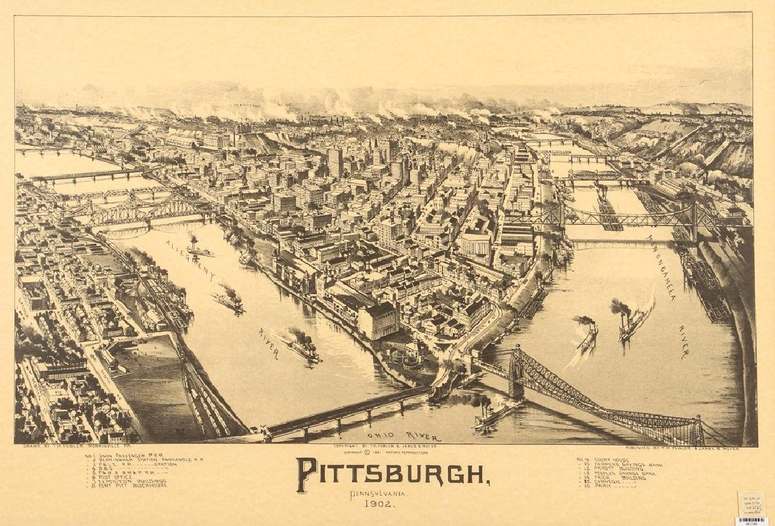 Fowler and Moyer Pittsburgh Birds Eye View Reproduction