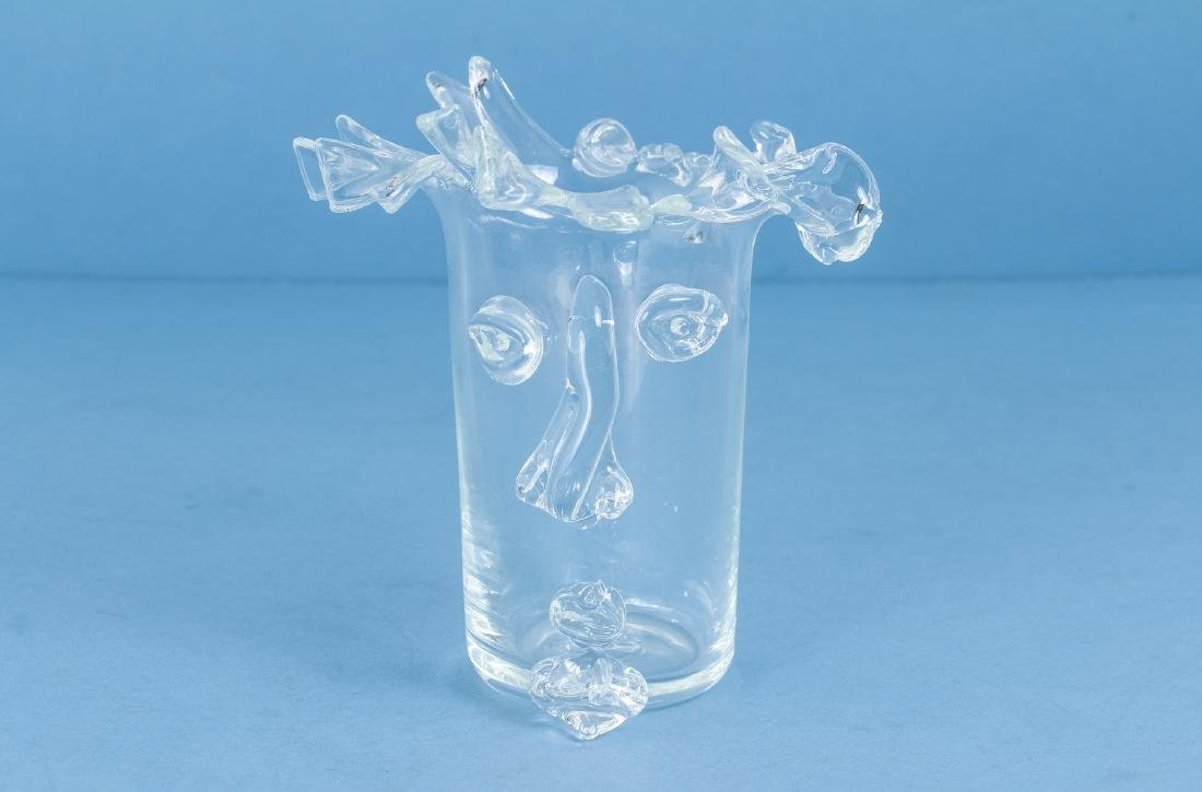Unusual Art Glass Vase Manner of Picasso