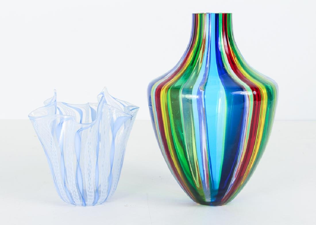 2 Italian Glass Vases, one latticino