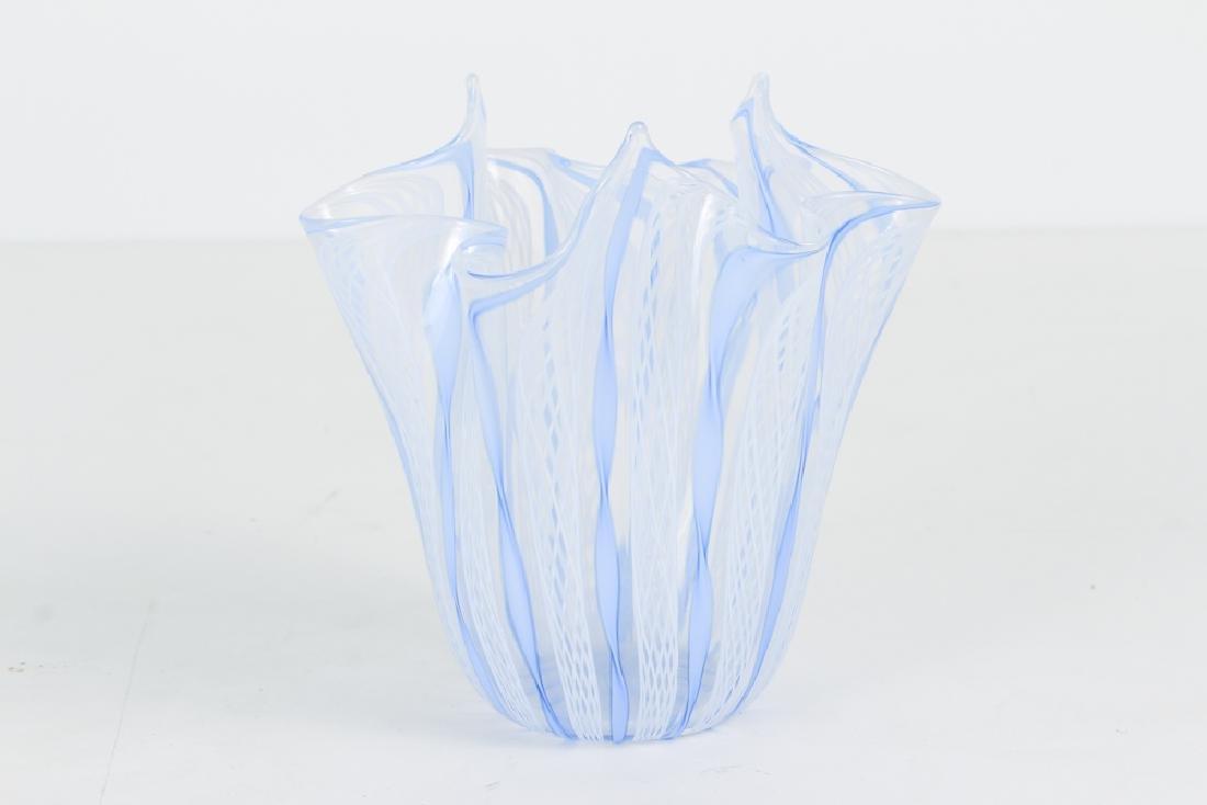 2 Italian Glass Vases, one latticino - 6