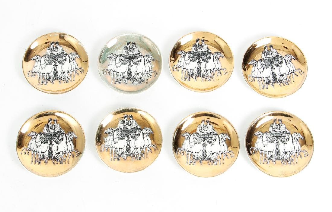 Eight Matching Fornasetti Chariot Themed Plates