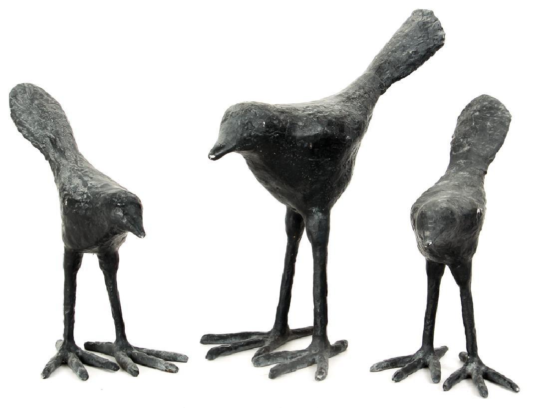 3 cast Birds metal in the style of Elizabeth Frink