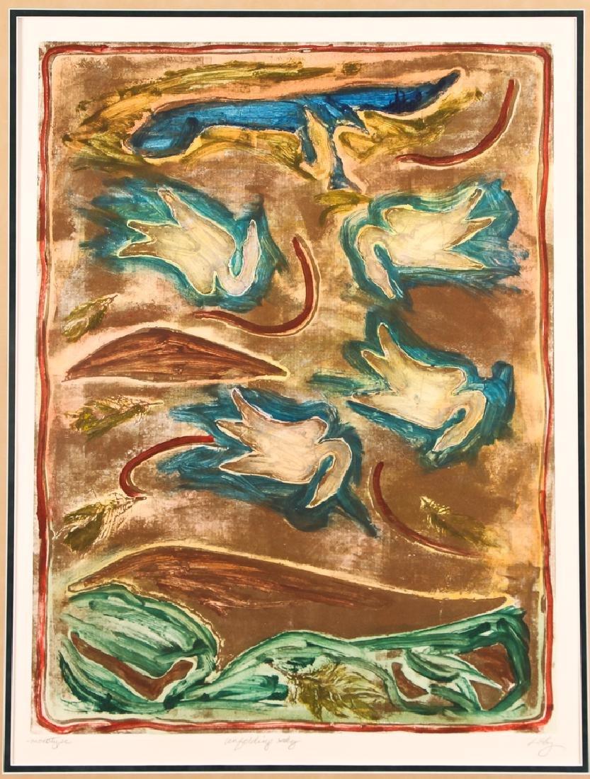 Lely monotype on paper Unfolding Sky