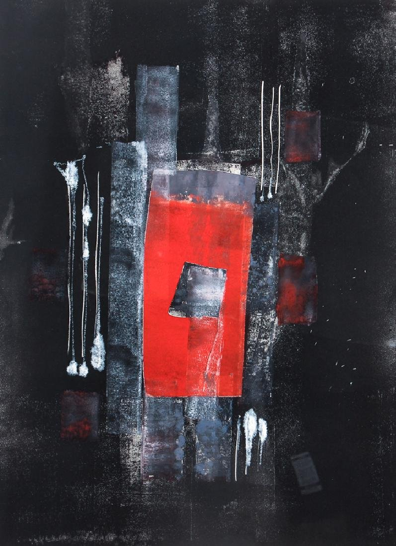 Pauline Michaels monoprint Red rectangle