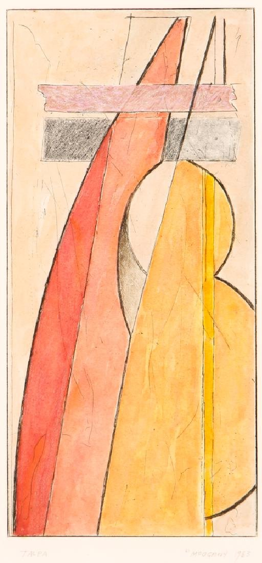 Miklos Pogany  color etching Talpa (Red)