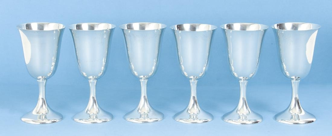 Six Sterling Silver Goblets