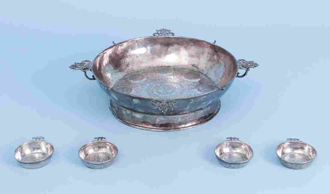 Spanish Sterling Silver Coin Inlaid Bowl w Tasters