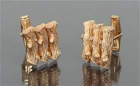Pair of 14 K Gold Log Themed Cufflinks