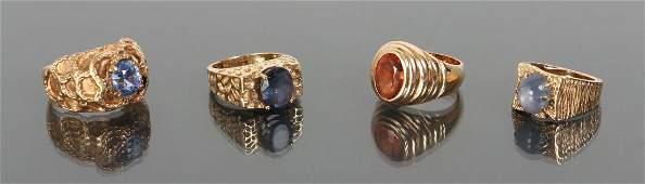 Four Gold Men's Rings