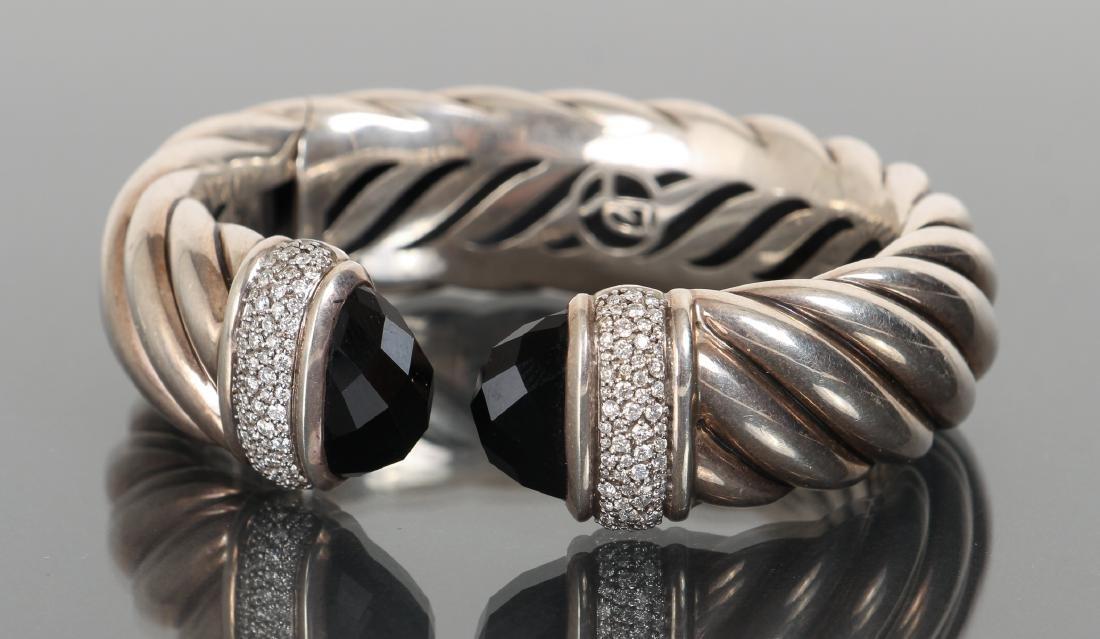 David Yurman Sterling Diamond and Onyx Bracelet