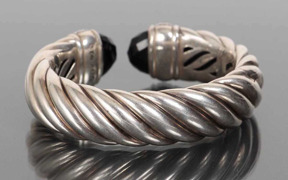 David Yurman Sterling Diamond and Onyx Bracelet - 2