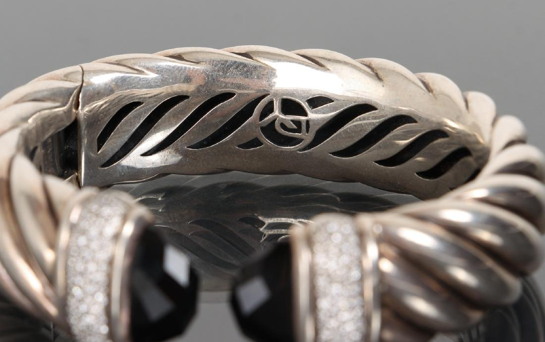 David Yurman Sterling Diamond and Onyx Bracelet - 3