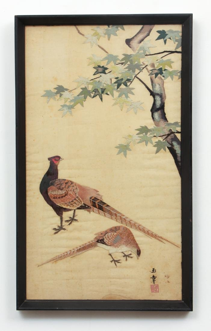 Antique Chinese Silk Embroidery with Pheasants - 2