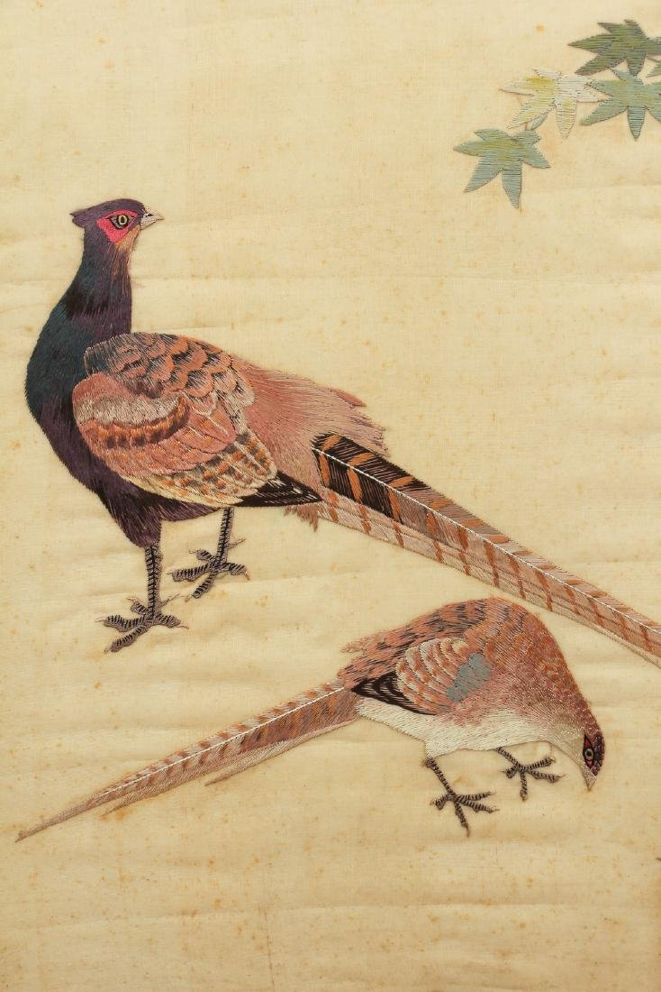 Antique Chinese Silk Embroidery with Pheasants - 4