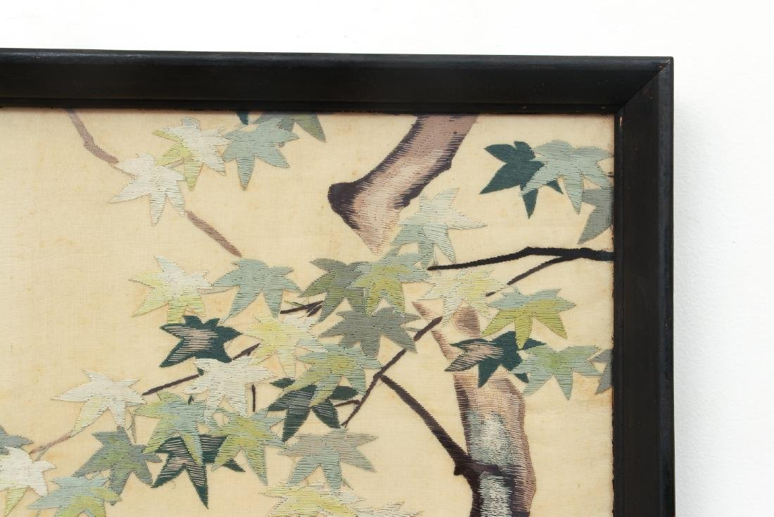 Antique Chinese Silk Embroidery with Pheasants - 6