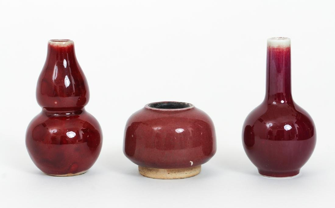 Three Antique Chinese Sang de Bouef Vases