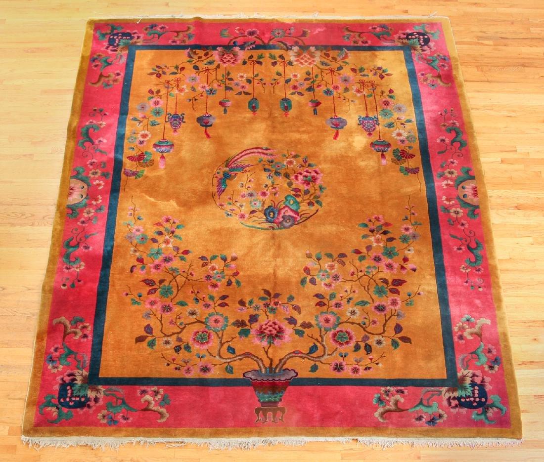 Antique Chinese Art Deco Wool Carpet