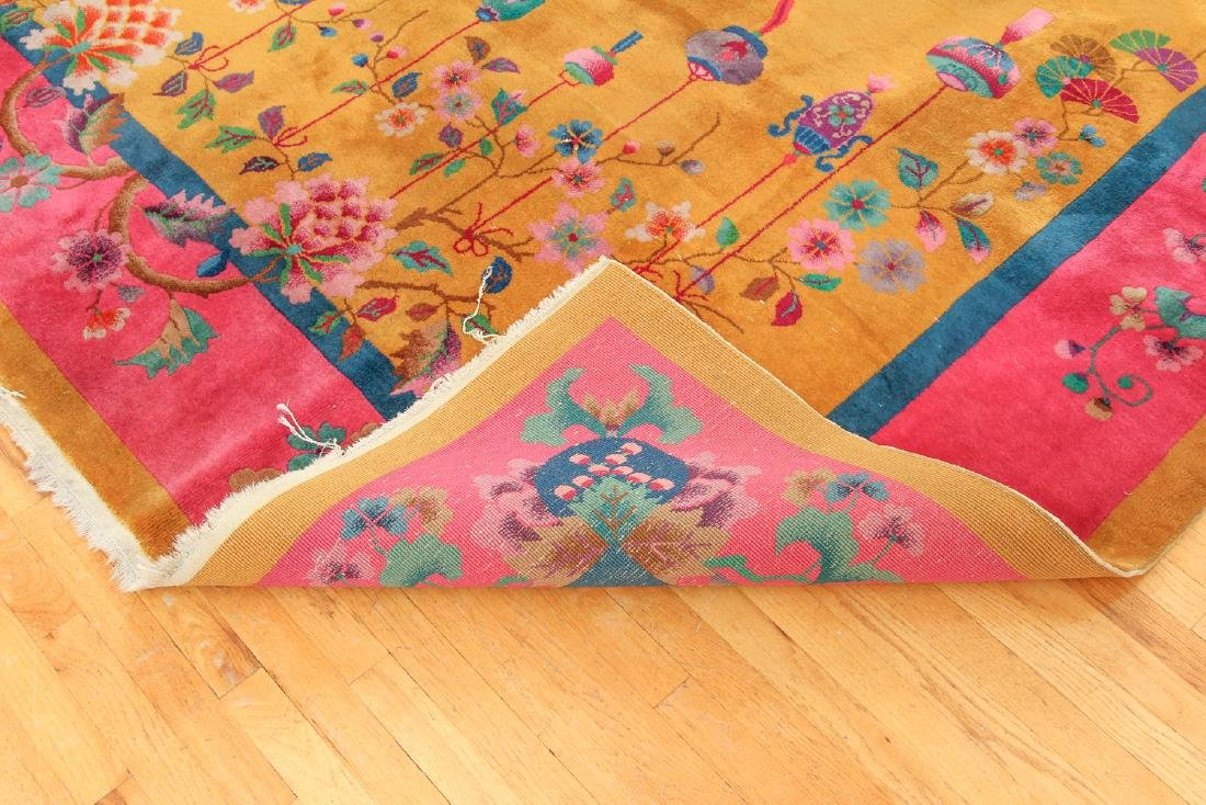 Antique Chinese Art Deco Wool Carpet - 7
