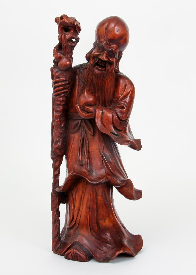 Large Chinese Carved Wood Scholar