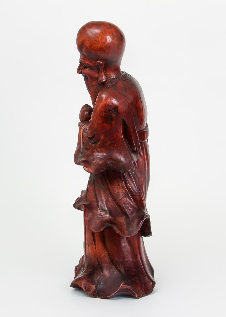 Large Chinese Carved Wood Scholar - 2