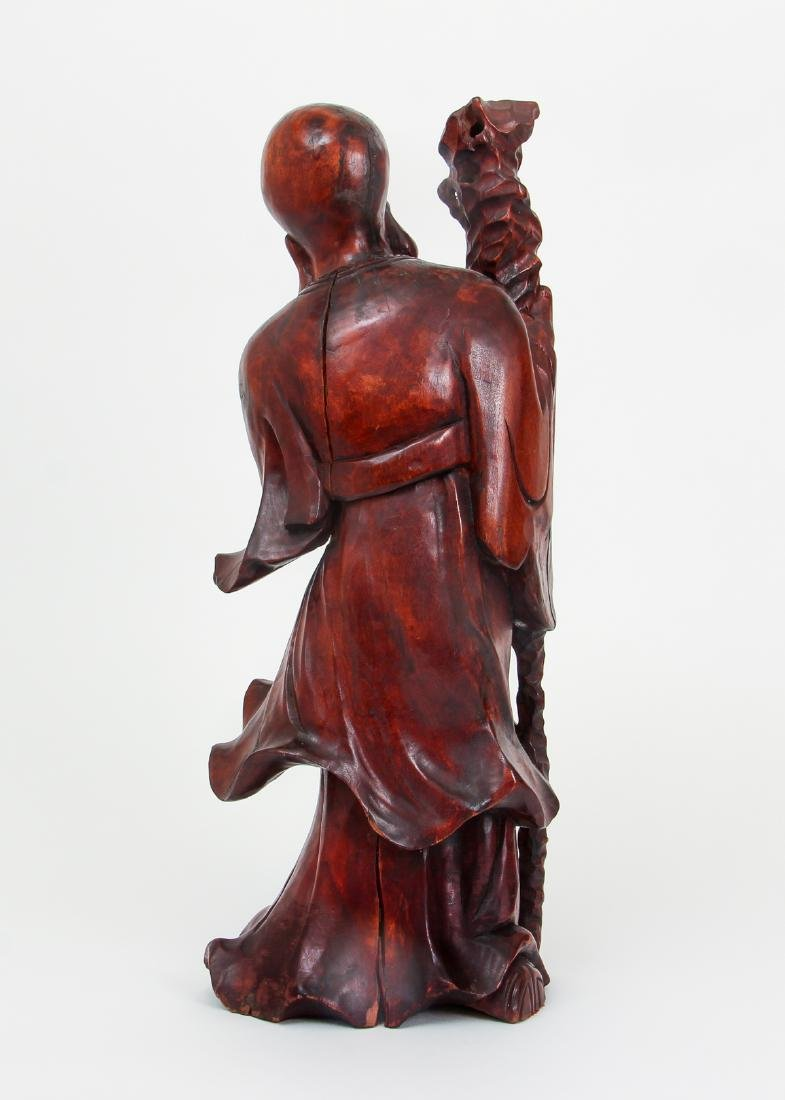 Large Chinese Carved Wood Scholar - 3