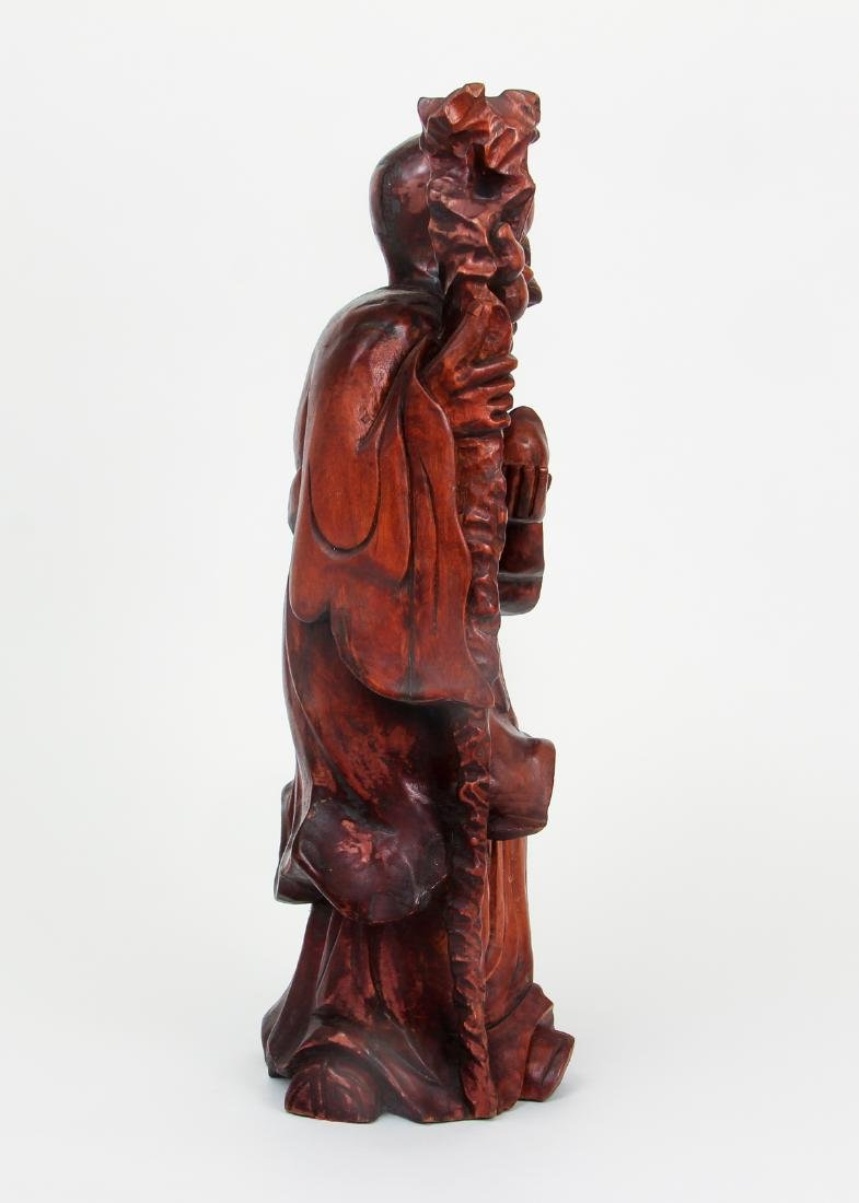 Large Chinese Carved Wood Scholar - 4