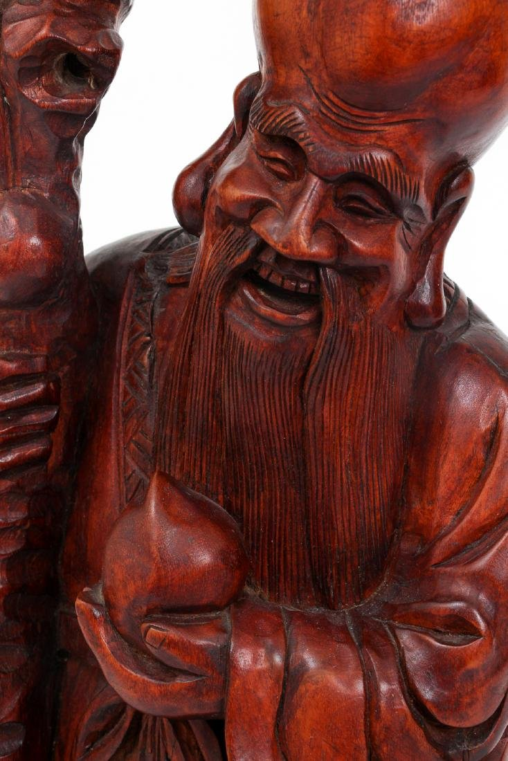 Large Chinese Carved Wood Scholar - 5