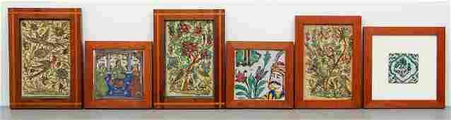 6 framed Persian Faience Tiles