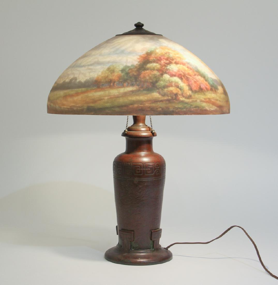 Handel Lamp with Henry Bedigie Signed Shade