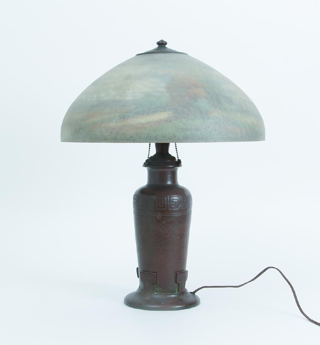 Handel Lamp with Henry Bedigie Signed Shade - 4