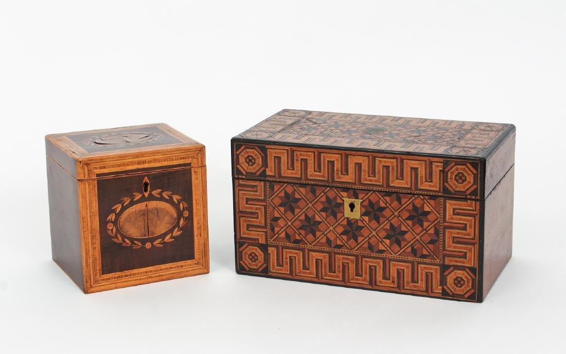 Two Antique Inlaid Tea Caddies