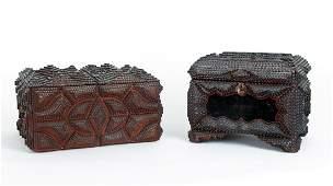 Two Folk Tramp Art Boxes