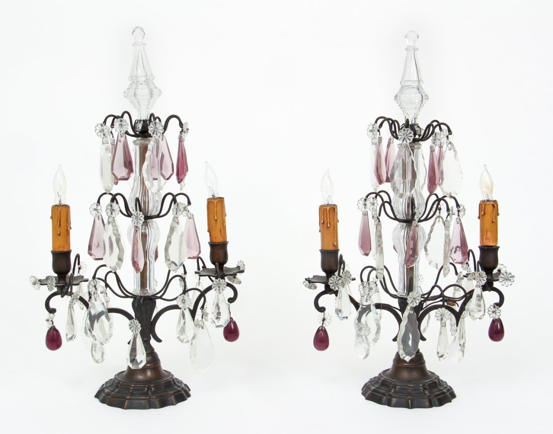 Pair of Bronze and Crystal Garniture