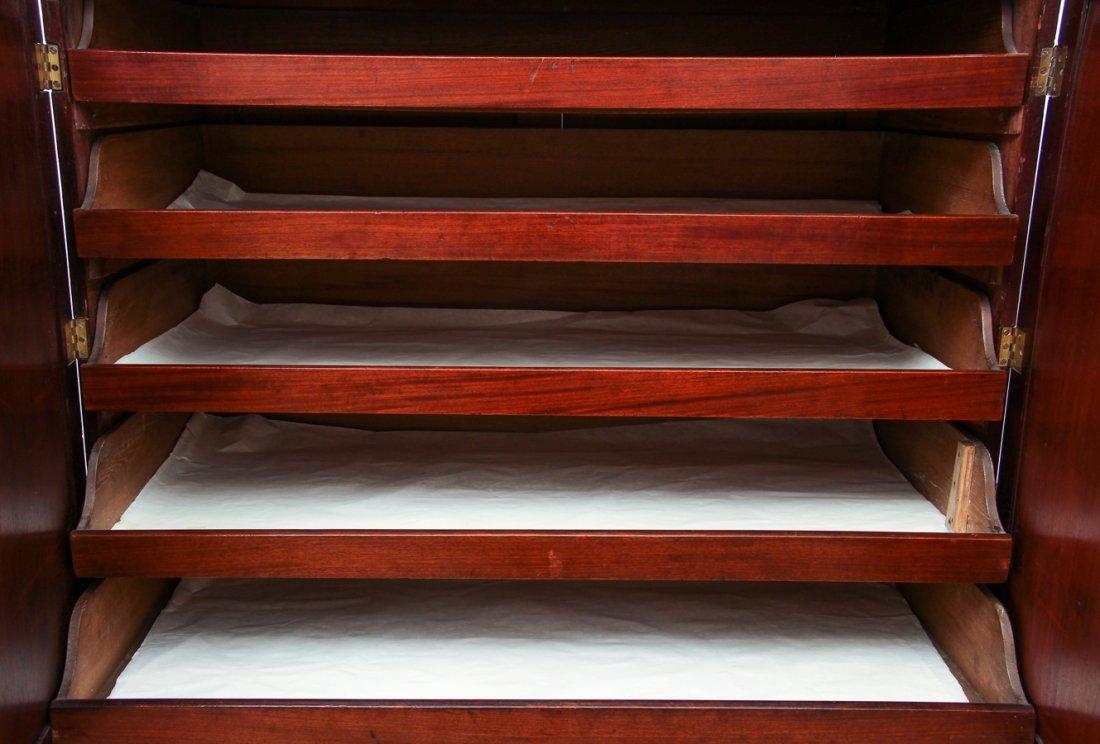 Antique English Mahogany and Inlay Linen Press - 3