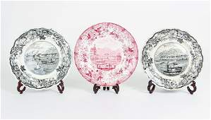 Three Staffordshire Pieces showing Pittsburgh