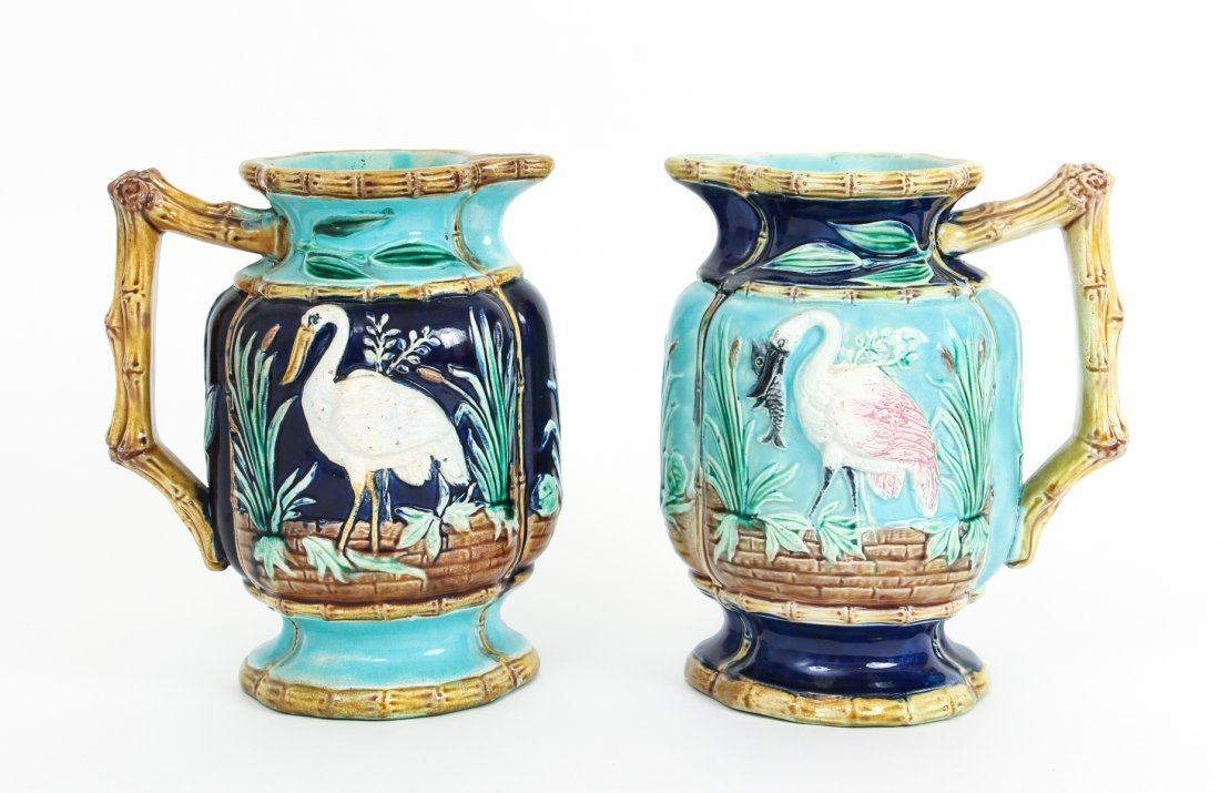 Two Stork in Marsh Bamboo Handle Majolica Pitchers