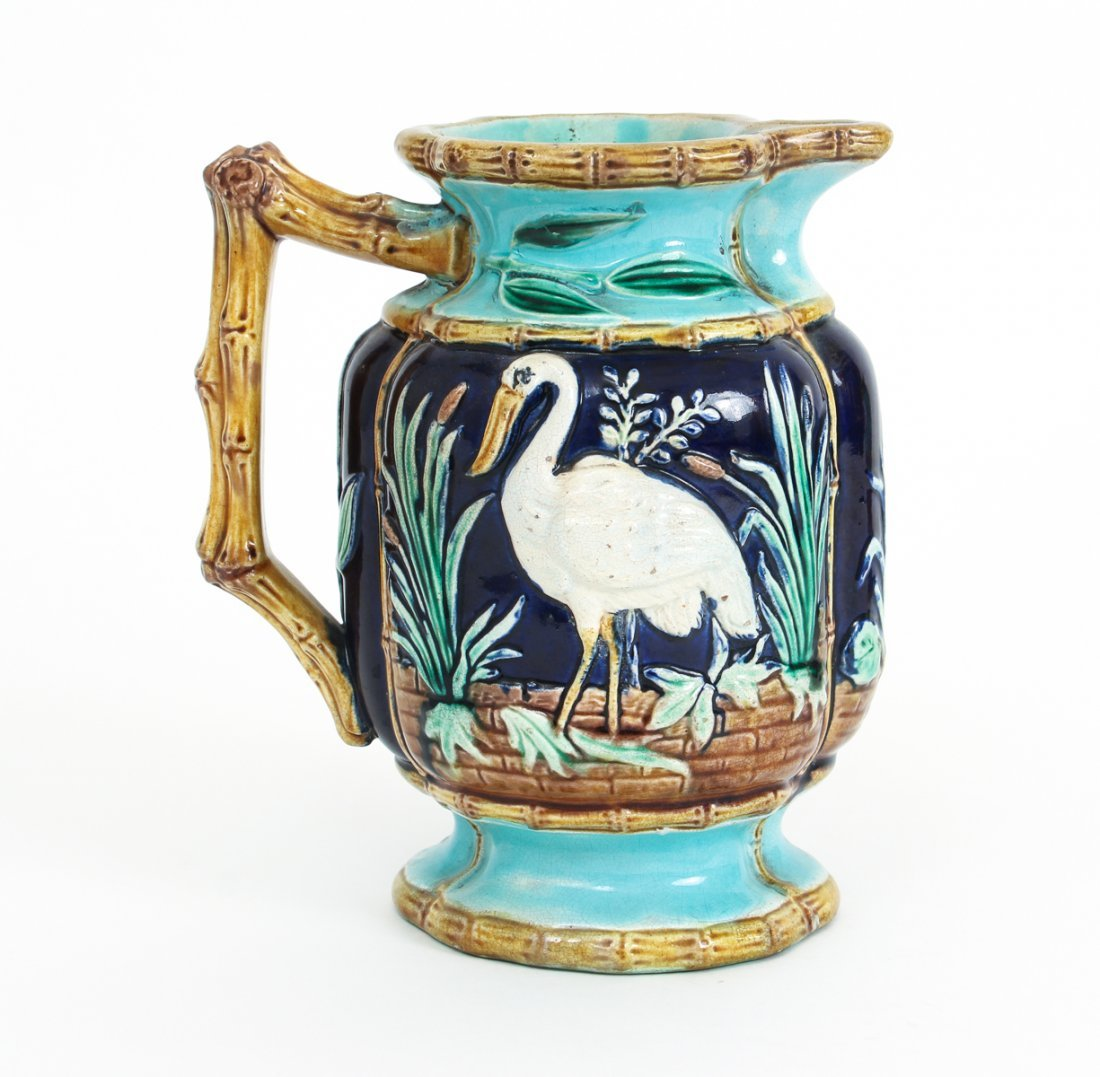 Two Stork in Marsh Bamboo Handle Majolica Pitchers - 2