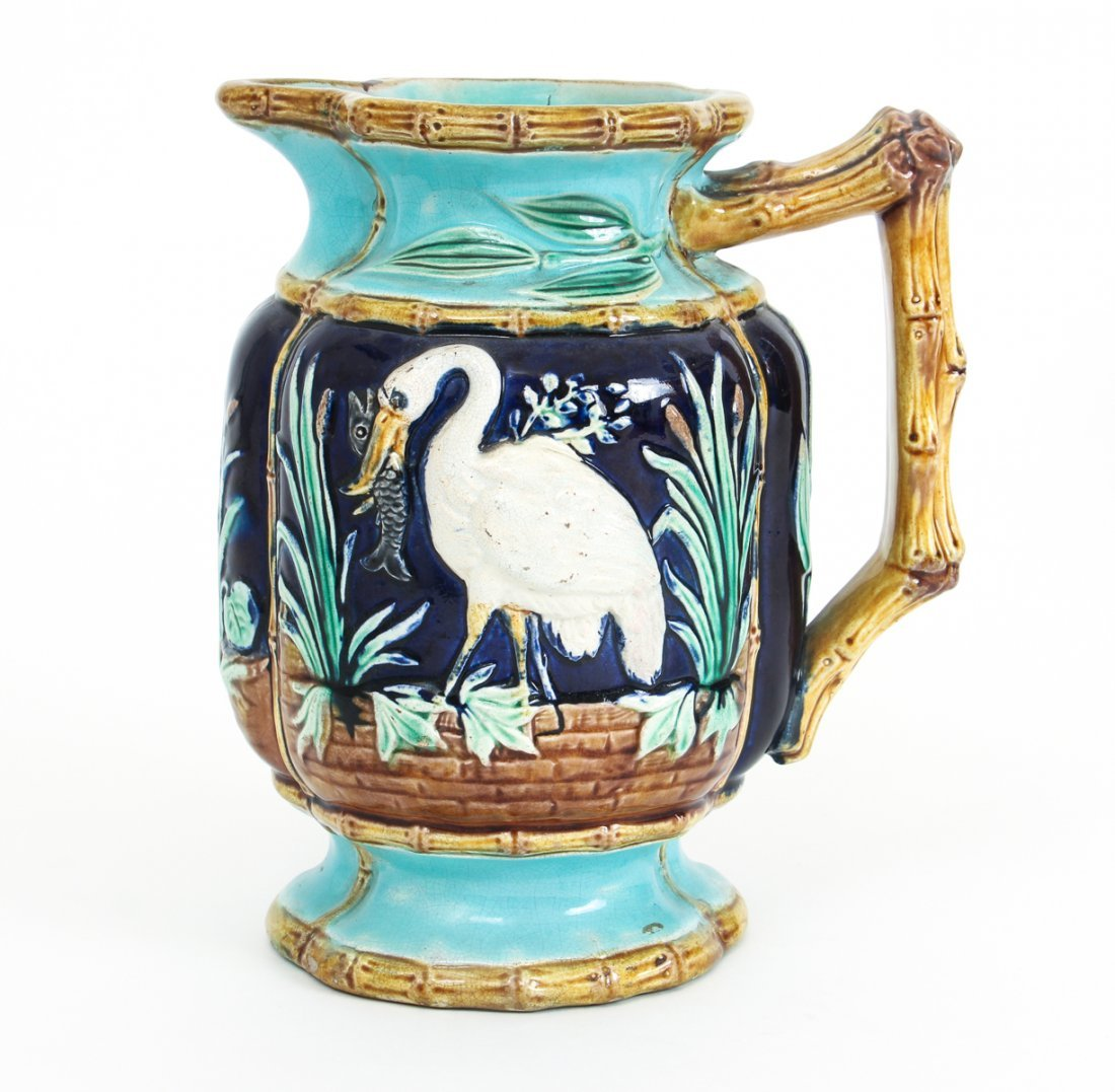 Two Stork in Marsh Bamboo Handle Majolica Pitchers - 4