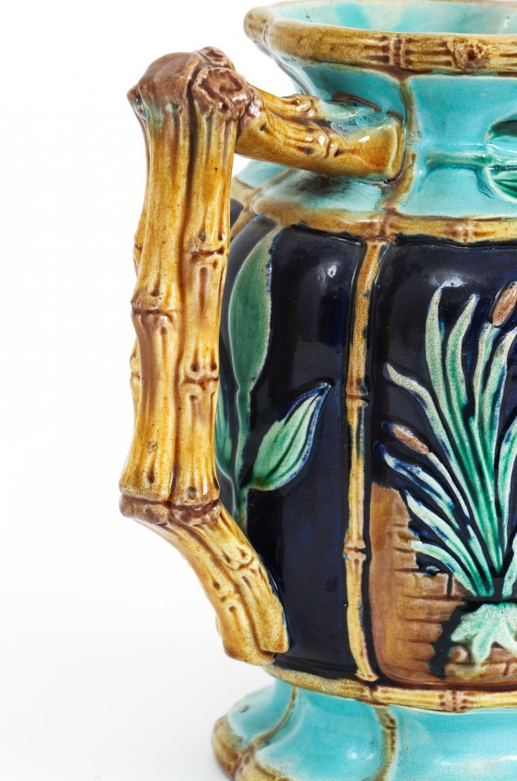 Two Stork in Marsh Bamboo Handle Majolica Pitchers - 5