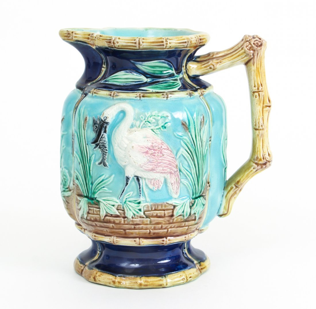 Two Stork in Marsh Bamboo Handle Majolica Pitchers - 8