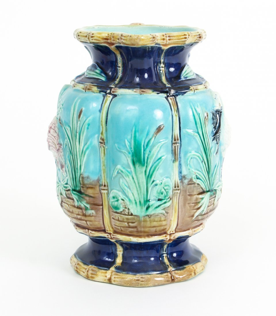 Two Stork in Marsh Bamboo Handle Majolica Pitchers - 9