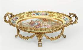Hand Painted Sevres Charger w Bronze Mounts