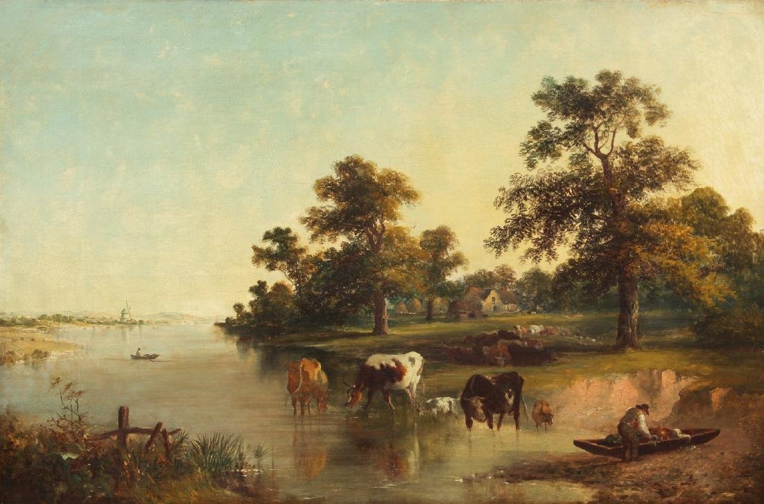 19th c. Continental School Landscape oil Coastal farm